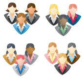 Set of businesswoman icon in network group FULL VE. Set of businesswoman icon in network group and in FULL VECTOR style with different hairstyle Royalty Free Stock Photo