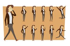Set of businesswoman in suit and standing poses with isolated ba royalty free stock images