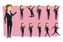 Set of businesswoman in suit and standing poses with isolated ba stock image
