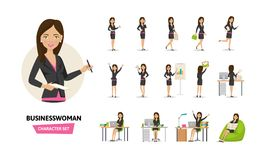 Set of businesswoman working character in office work situations. Stock Photo