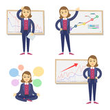 Set of businesswomen on the background of the graph. Cartoon businesswomen and graph. Concept of success and failing in business.Vector Stock Images
