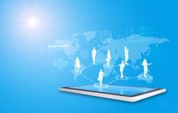 Set of businesswomen silhouette above tablet Stock Photos
