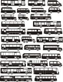Set Busschattenbilder Stockbilder