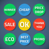 Set of bussiness sale promotion signs Stock Images