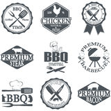 Set of butcher shop labels Stock Photos