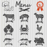 Set of butcher shop labels and design elements Royalty Free Stock Photos