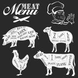 Set of butcher shop labels and design elements Stock Photos