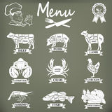Set of butcher shop labels and design elementsn Stock Photos