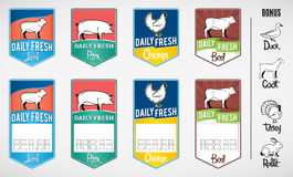 Set of Butcher Shop Labels and Price Tags. Vector colorful butchery shop labels and price tags for your work stock illustration