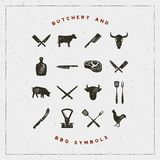 Set of butchery and barbecue symbols with letterpress effect. vector illustration. Set of butchery and barbecue symbols with letterpress effect. hand drawn Royalty Free Stock Photo