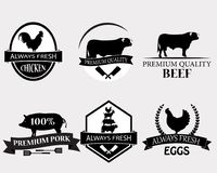 Set of butchery logo templates. Butchery labels with sample text. Butchery design elements and farm animals silhouettes for groceries, meat stores Stock Photography