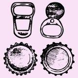Set butelek nakrętki, metalu pierścionku ciągnienie Zdjęcia Stock