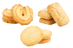Set of butter cookies isolated on white background Royalty Free Stock Photo