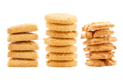 Set of butter cookies isolated on white background Royalty Free Stock Photography