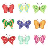 Set with butterflies. On white Royalty Free Stock Photo
