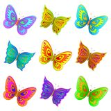 Set butterflies. Vector, set from nine various color flying butterflies Stock Images
