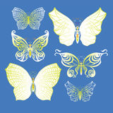 Set of butterflies. Set of beautiful butterflies on color background Stock Photography