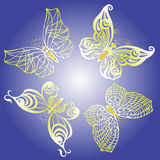 Set of butterflies. Set of beautiful butterflies on color background Royalty Free Stock Image