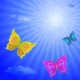 Butterflies Fly in the Sky, Low-Poly Royalty Free Stock Photos