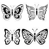 Set Butterflies Black Pictograms Stock Image