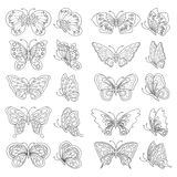 Set of butterflies - black and white. Set of butterflies - black and white, vector illustration Stock Photo