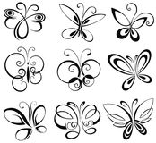 Set of butterflies. Black and white  vintage set of butterflies Stock Photography