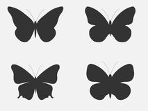 Set of butterflies. Butterflies silhouettes  on white background. Vector Royalty Free Stock Photo