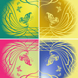 Set of butterflies on color background. Set of beautiful butterflies on color background Royalty Free Stock Photography