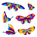 Set of butterflies. Colorful bright abstract insects stock illustration