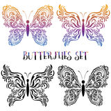 Set Butterflies Contour Pictograms Royalty Free Stock Photos
