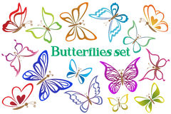 Set Butterflies Contour Pictograms Stock Photos