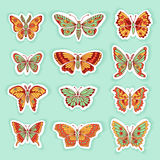 Set of Butterflies Decorative  Silhouettes Royalty Free Stock Photos