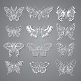 Set of Butterflies Decorative  Silhouettes Stock Images
