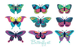 Set of butterflies decorative silhouettes. Vector illustration Stock Photography