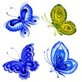 Set of butterflies. Set of hand drawn illustrations in Ukrainian national style Stock Photo