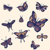 Set of butterflies. Hand drawn and simple Stock Photo