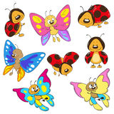 Set butterflies and ladybugs. Cartoon insect. Collection Royalty Free Stock Image