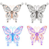 Set butterflies ornamental style Royalty Free Stock Photo