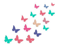 Set of butterflies. Paper butterflies with shadow. Stock Image