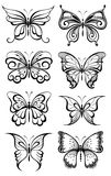 Set of butterflies silhouettes Royalty Free Stock Photo