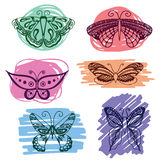 Set of butterflies silhouettes in hand-drawn style for tattoo design. Vector decorative doodle objects. Royalty Free Stock Images