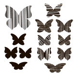 Set of butterflies silhouettes isolated on white background. Stock Image