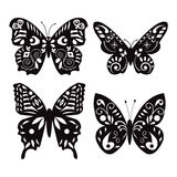 Set of butterflies silhouettes isolated on white background Royalty Free Stock Images