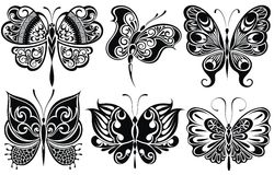Set of butterflies silhouettes Stock Photo