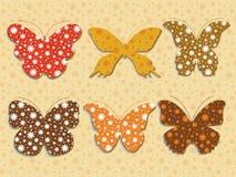 Set of butterflies. Set of six bulk patterned butterflies Stock Images