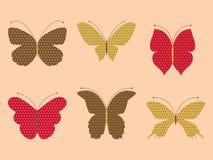 Set of butterflies. Set of six butterflies with patterns Stock Photo