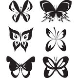 Set of butterflies tatoo. Set of butterflies isolated on white background Royalty Free Stock Image