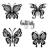 Set of butterflies for tattoo Royalty Free Stock Photo