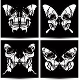 Set butterflies to skulls. Vector illustration. Stock Photo
