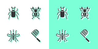 Set Butterfly net, Beetle bug, Mosquito and deer icon. Vector